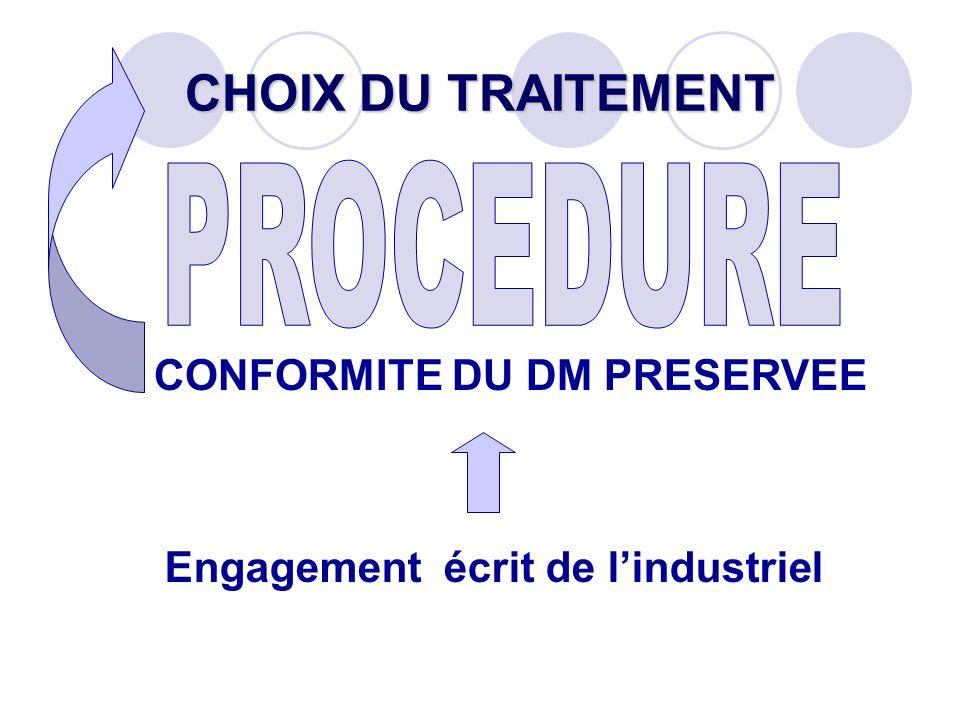 CHOIX DU TRAITEMENT CONFORMITE DU DM PRESERVEE Engagement écrit de lindustriel
