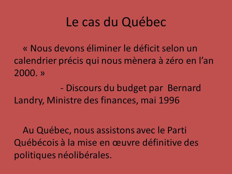 Le cas du Québec « Nous devons éliminer le déficit selon un calendrier précis qui nous mènera à zéro en lan 2000.