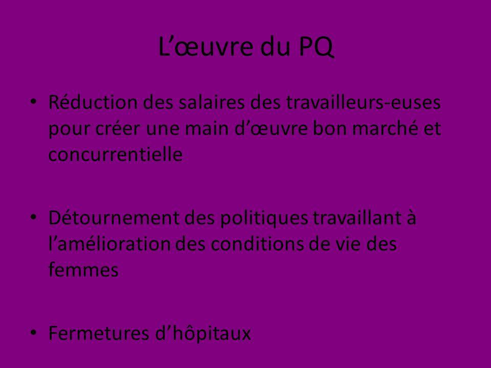 Lœuvre du PQ Réduction des salaires des travailleurs-euses pour créer une main dœuvre bon marché et concurrentielle Détournement des politiques travaillant à lamélioration des conditions de vie des femmes Fermetures dhôpitaux