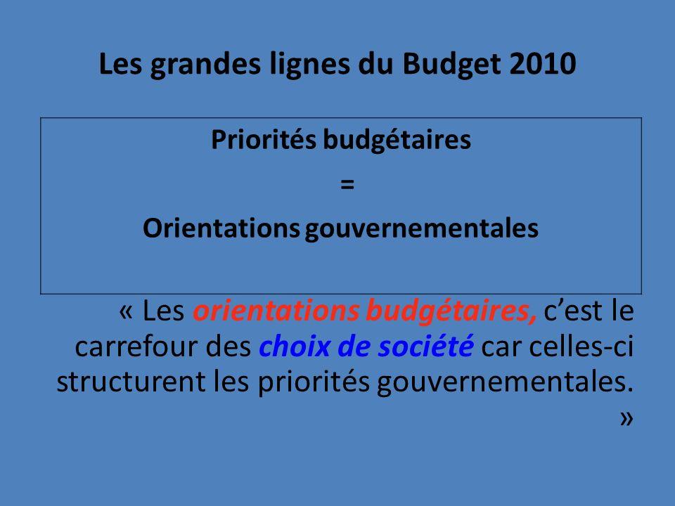 Les grandes lignes du Budget 2010 « Les orientations budgétaires, cest le carrefour des choix de société car celles-ci structurent les priorités gouvernementales.