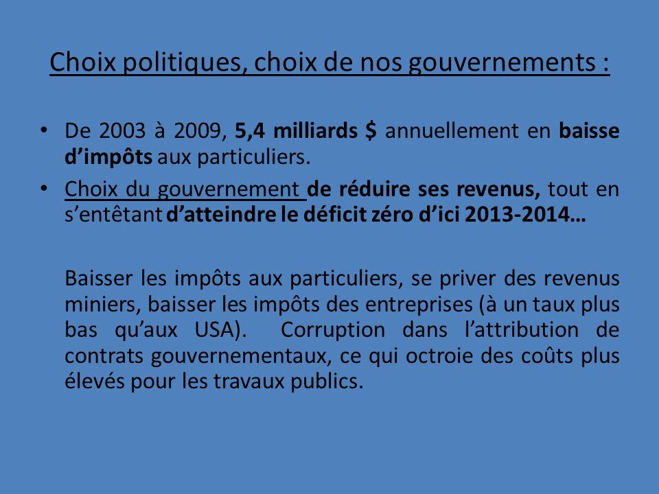 Choix politiques, choix de nos gouvernements : De 2003 à 2009, 5,4 milliards $ annuellement en baisse dimpôts aux particuliers.