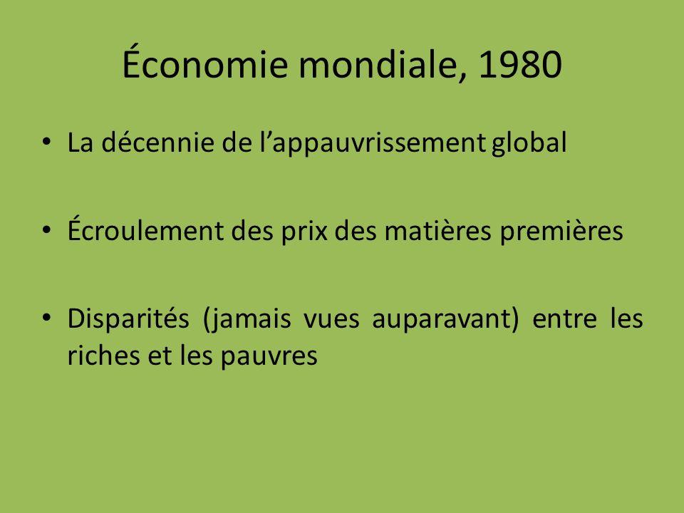 Économie mondiale, 1980 La décennie de lappauvrissement global Écroulement des prix des matières premières Disparités (jamais vues auparavant) entre les riches et les pauvres