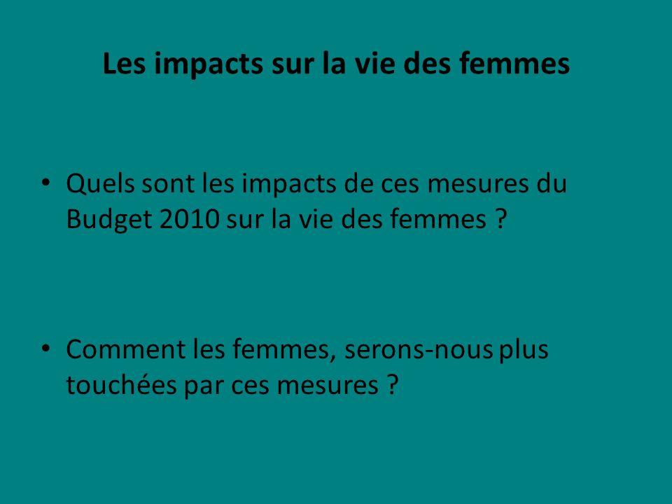 Les impacts sur la vie des femmes Quels sont les impacts de ces mesures du Budget 2010 sur la vie des femmes .