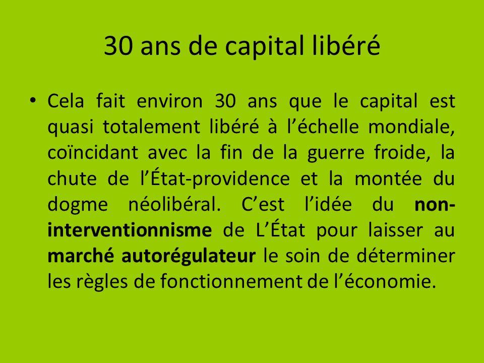 Néolibéralisme Le monde doit être un marché libre, intégré et unique, libéralisant la circulation des biens, des services et des capitaux.