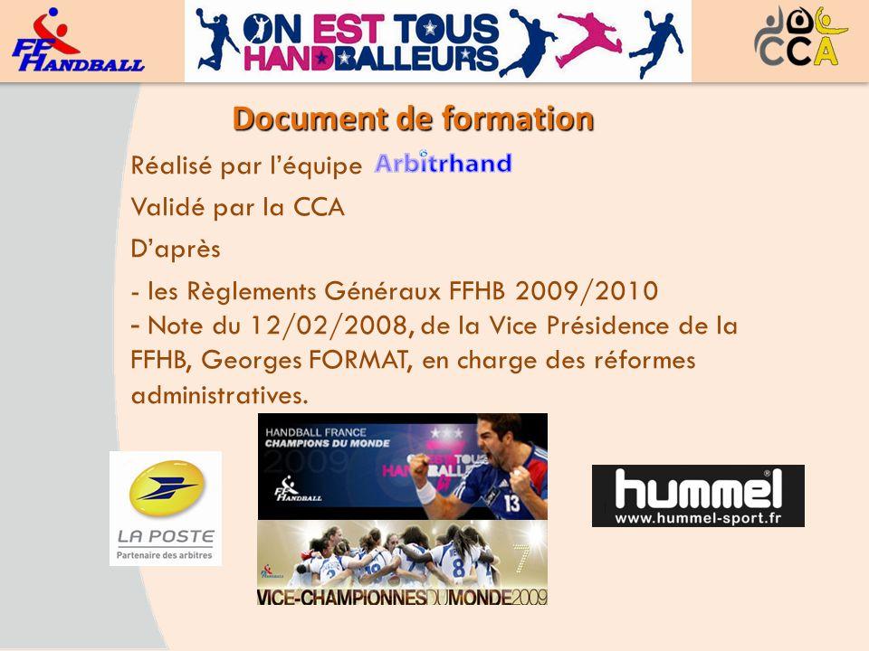 Document de formation Réalisé par léquipe Validé par la CCA Daprès - les Règlements Généraux FFHB 2009/2010 - Note du 12/02/2008, de la Vice Présidenc