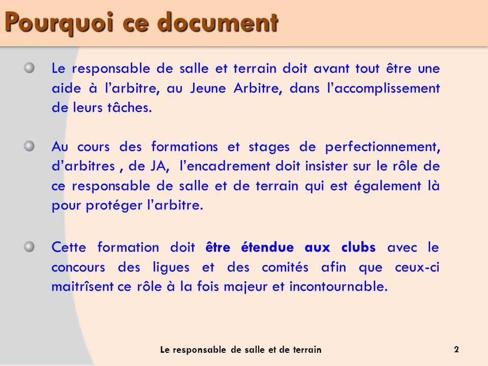 Pourquoi ce document 2 Le responsable de salle et de terrain Le responsable de salle et terrain doit avant tout être une aide à larbitre, au Jeune Arb