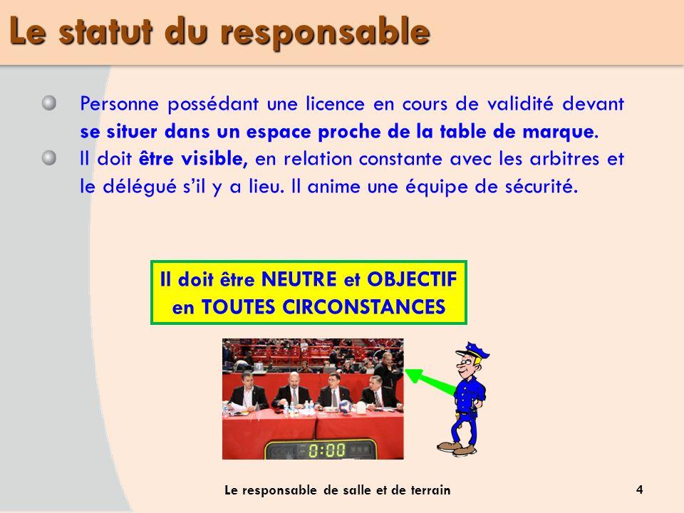 4 Le responsable de salle et de terrain Personne possédant une licence en cours de validité devant se situer dans un espace proche de la table de marq