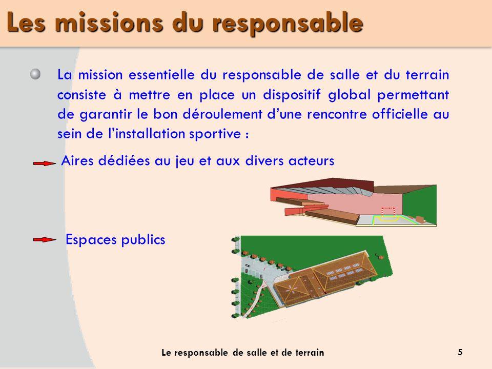 5 Le responsable de salle et de terrain La mission essentielle du responsable de salle et du terrain consiste à mettre en place un dispositif global p