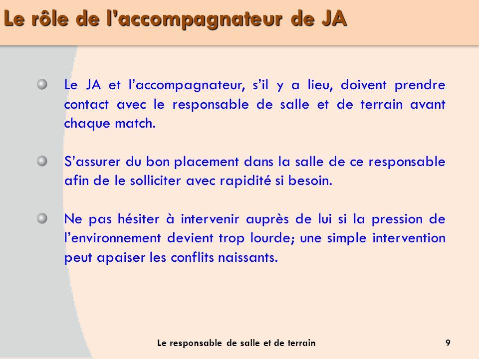 9 Le responsable de salle et de terrain Le JA et laccompagnateur, sil y a lieu, doivent prendre contact avec le responsable de salle et de terrain ava