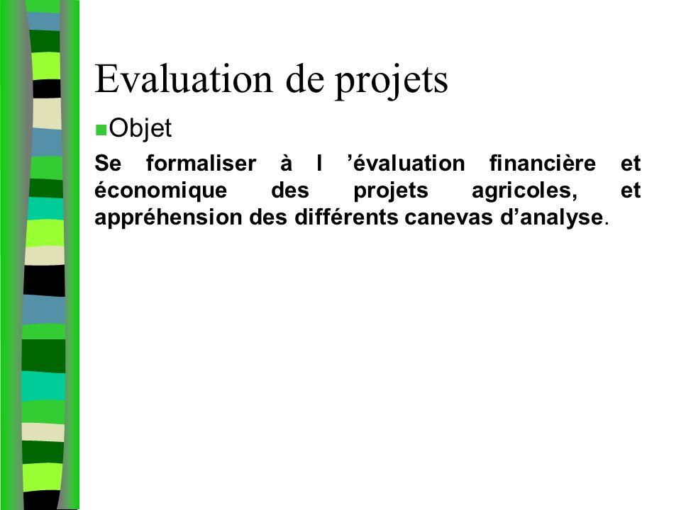 Evaluation de projets n Objet Se formaliser à l évaluation financière et économique des projets agricoles, et appréhension des différents canevas danalyse.