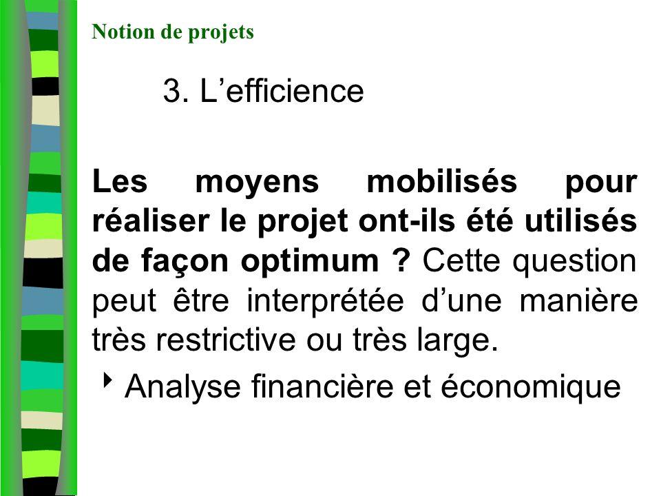Notion de projets 3. Lefficience Les moyens mobilisés pour réaliser le projet ont-ils été utilisés de façon optimum ? Cette question peut être interpr