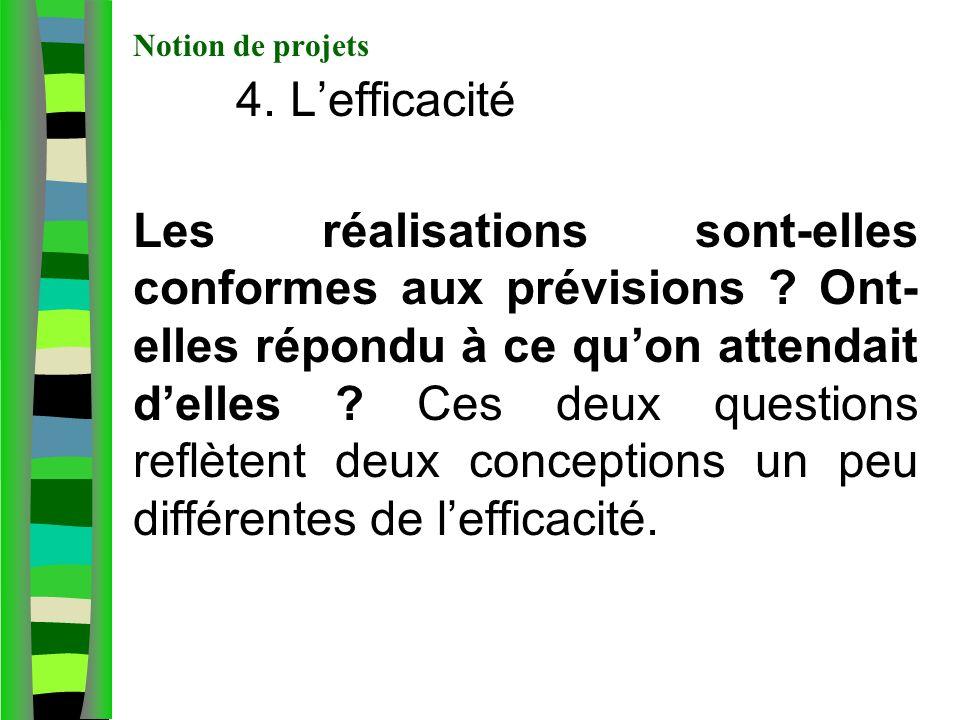 Notion de projets 4.Lefficacité Les réalisations sont-elles conformes aux prévisions .