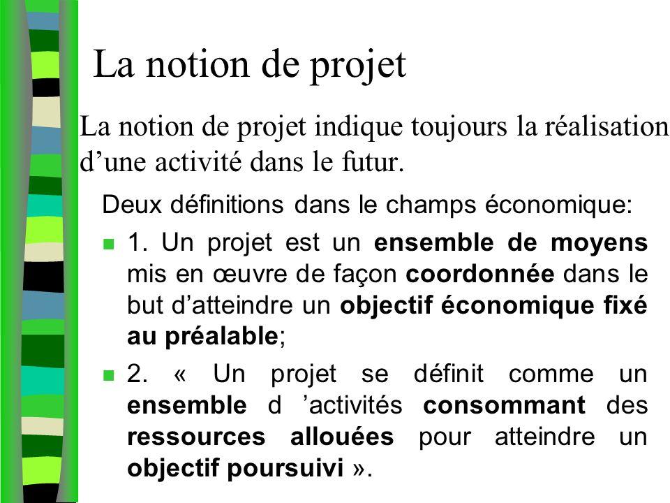 La notion de projet indique toujours la réalisation dune activité dans le futur. Deux définitions dans le champs économique: n 1. Un projet est un ens
