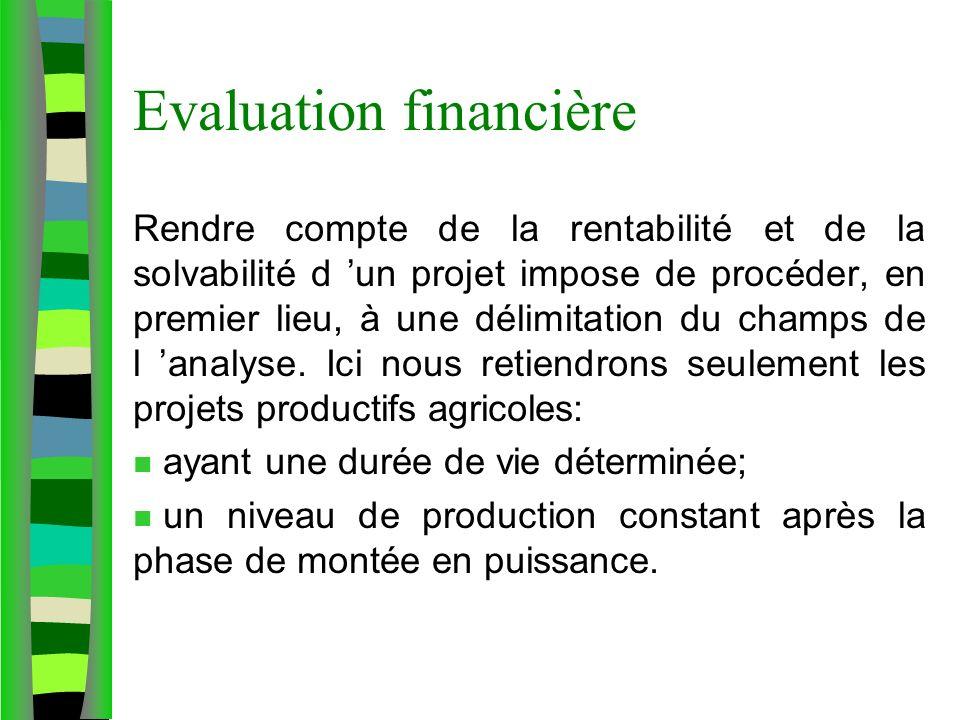 Evaluation financière Rendre compte de la rentabilité et de la solvabilité d un projet impose de procéder, en premier lieu, à une délimitation du champs de l analyse.