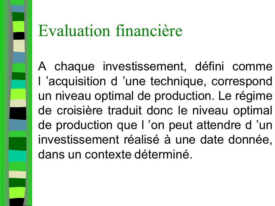Evaluation financière A chaque investissement, défini comme l acquisition d une technique, correspond un niveau optimal de production. Le régime de cr