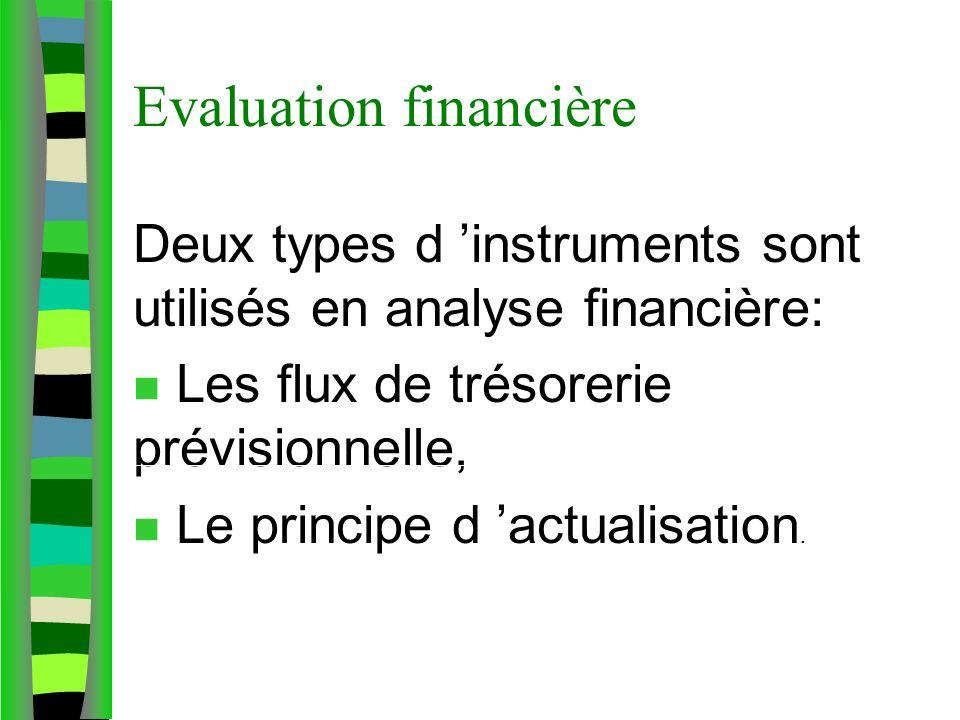 Evaluation financière Deux types d instruments sont utilisés en analyse financière: n Les flux de trésorerie prévisionnelle, n Le principe d actualisa