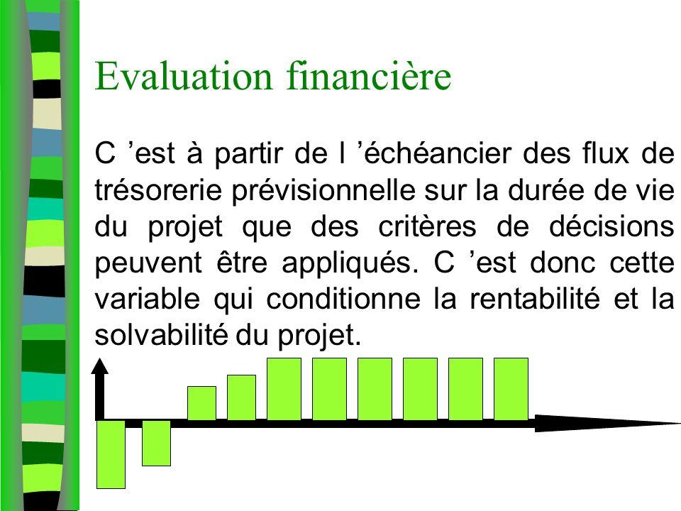 Evaluation financière C est à partir de l échéancier des flux de trésorerie prévisionnelle sur la durée de vie du projet que des critères de décisions peuvent être appliqués.