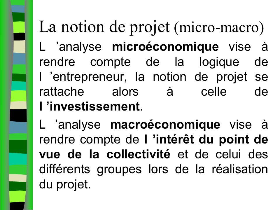 La notion de projet (micro-macro) L analyse microéconomique vise à rendre compte de la logique de l entrepreneur, la notion de projet se rattache alors à celle de l investissement.