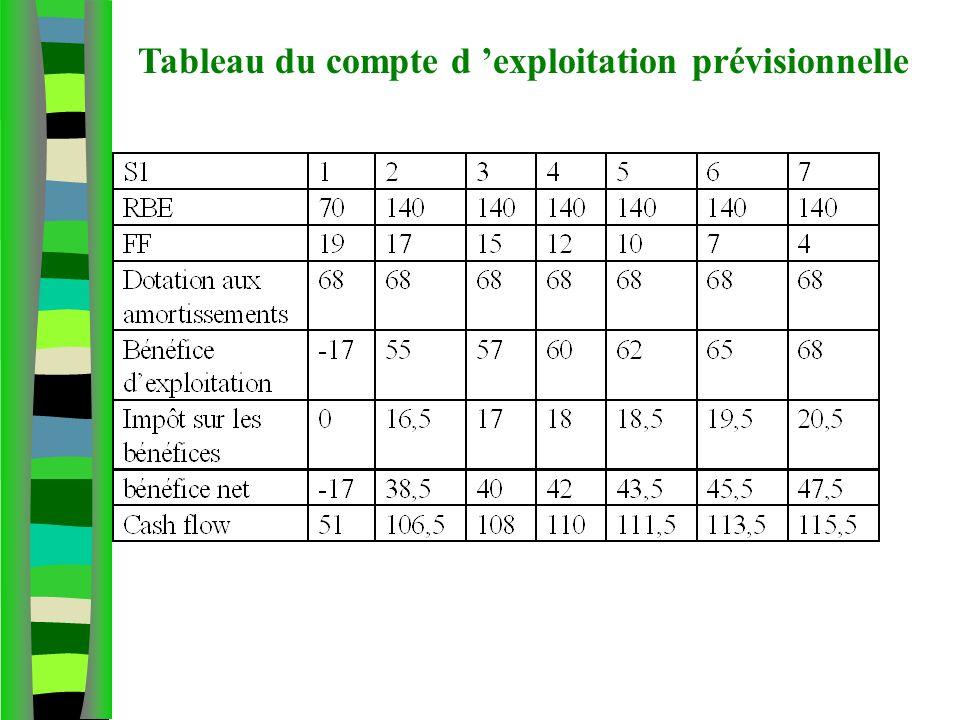 Tableau du compte d exploitation prévisionnelle