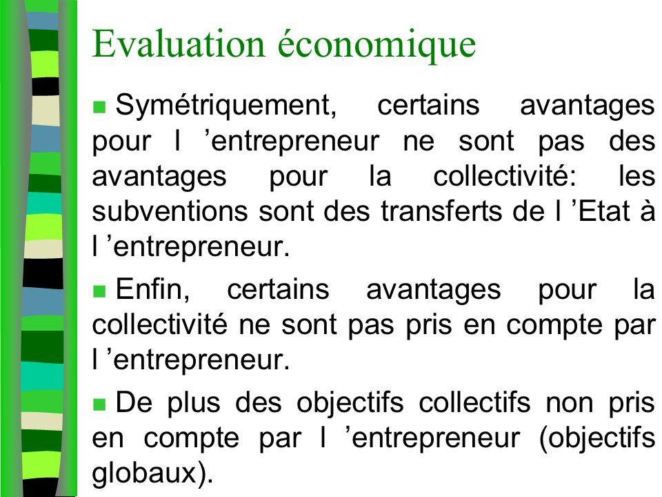 Evaluation économique n Symétriquement, certains avantages pour l entrepreneur ne sont pas des avantages pour la collectivité: les subventions sont de