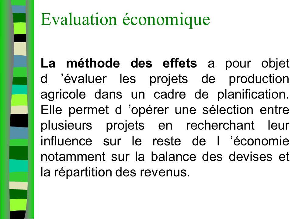 Evaluation économique La méthode des effets a pour objet d évaluer les projets de production agricole dans un cadre de planification. Elle permet d op