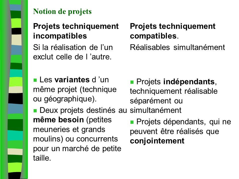 Notion de projet agricole Projets techniquement incompatibles Si la réalisation de lun exclut celle de l autre. n Les variantes d un même projet (tech