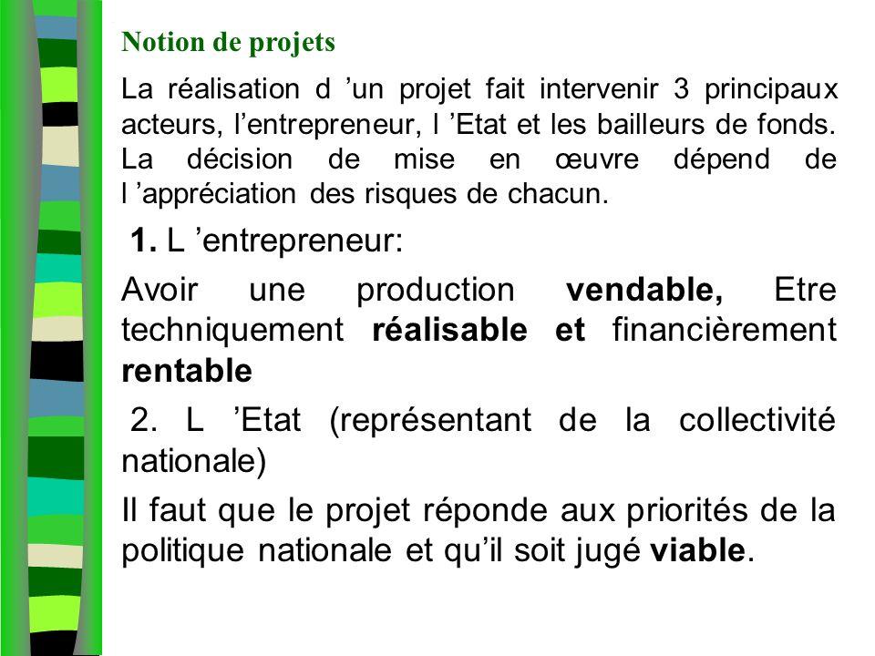 Notion de projet agricole La réalisation d un projet fait intervenir 3 principaux acteurs, lentrepreneur, l Etat et les bailleurs de fonds. La décisio