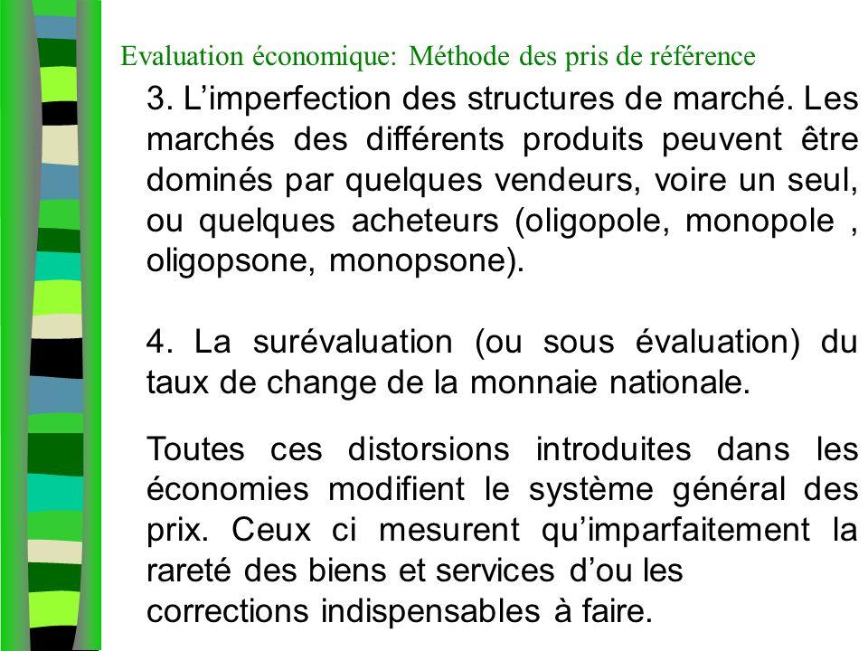 Evaluation économique: Méthode des pris de référence 3. Limperfection des structures de marché. Les marchés des différents produits peuvent être domin