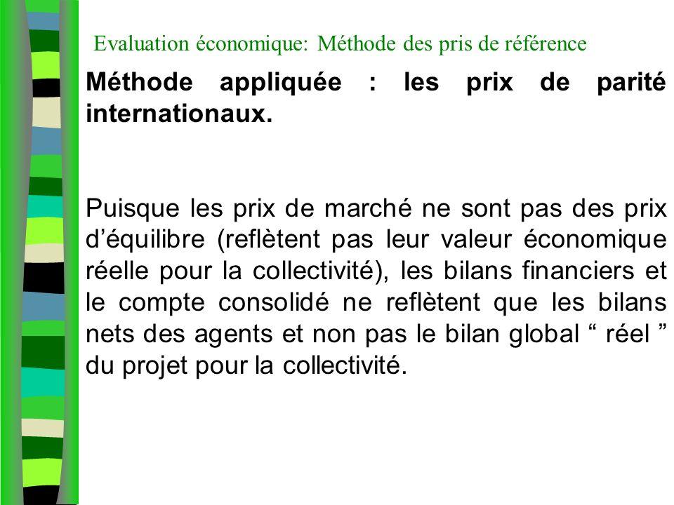 Evaluation économique: Méthode des pris de référence Méthode appliquée : les prix de parité internationaux. Puisque les prix de marché ne sont pas des