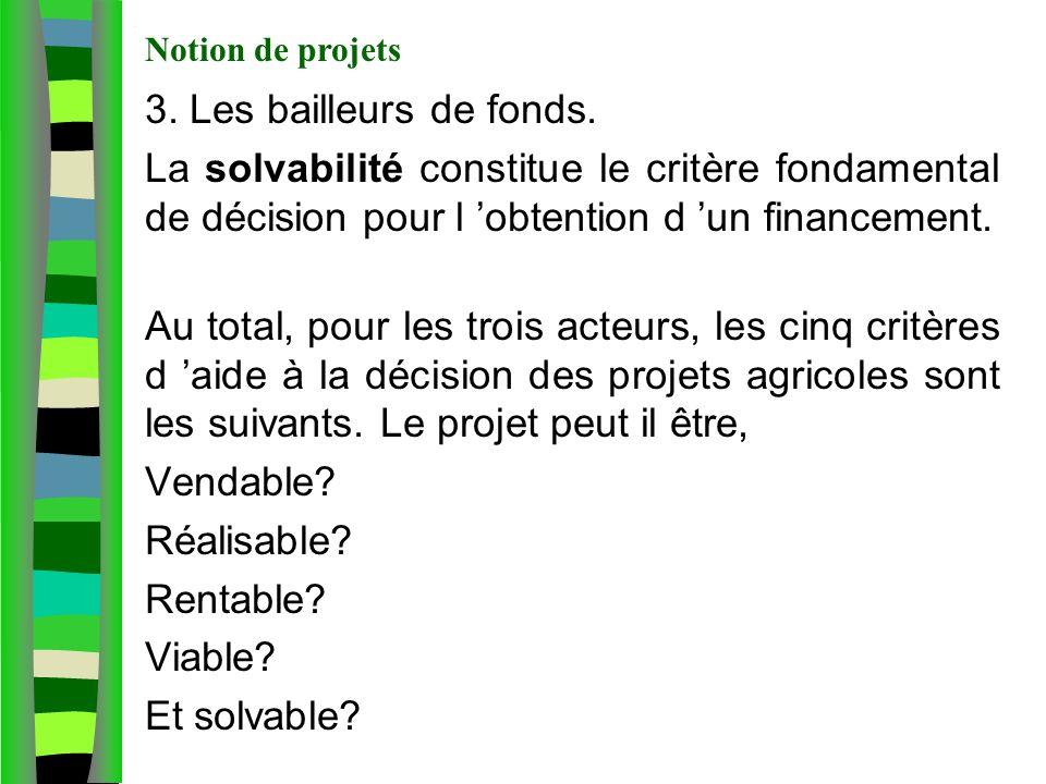 Notion de projet agricole 3. Les bailleurs de fonds. La solvabilité constitue le critère fondamental de décision pour l obtention d un financement. Au