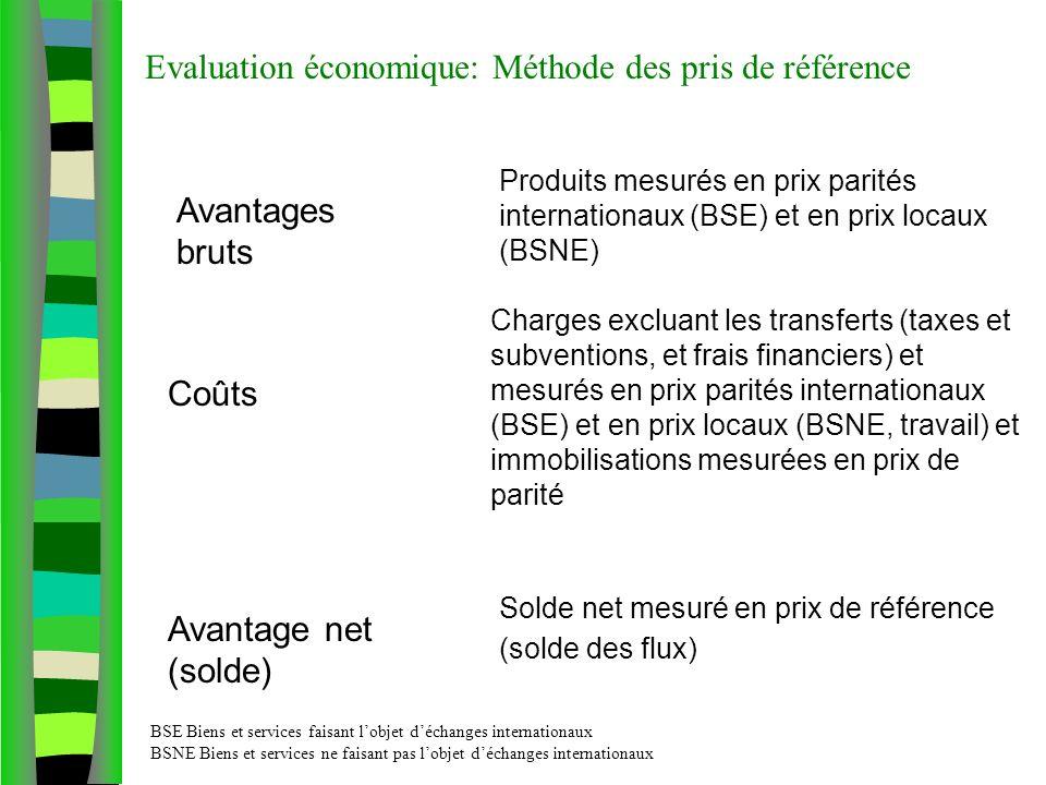 Evaluation économique: Méthode des pris de référence Avantages bruts Produits mesurés en prix parités internationaux (BSE) et en prix locaux (BSNE) Coûts Avantage net (solde) Charges excluant les transferts (taxes et subventions, et frais financiers) et mesurés en prix parités internationaux (BSE) et en prix locaux (BSNE, travail) et immobilisations mesurées en prix de parité Solde net mesuré en prix de référence (solde des flux) BSE Biens et services faisant lobjet déchanges internationaux BSNE Biens et services ne faisant pas lobjet déchanges internationaux