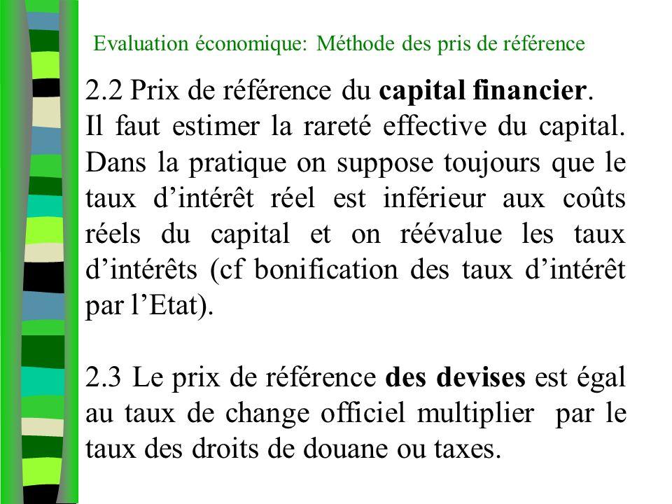 Evaluation économique: Méthode des pris de référence 2.2 Prix de référence du capital financier. Il faut estimer la rareté effective du capital. Dans