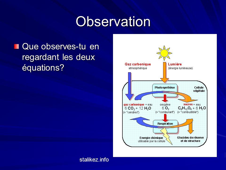 La photosynthèse et la respiration cellulaire Les 2 processus sont linverse lun de lautre Les produits de photosynthèse sont les réactants de respiration et les produits de respiration sont les réactants de photosynthèse.