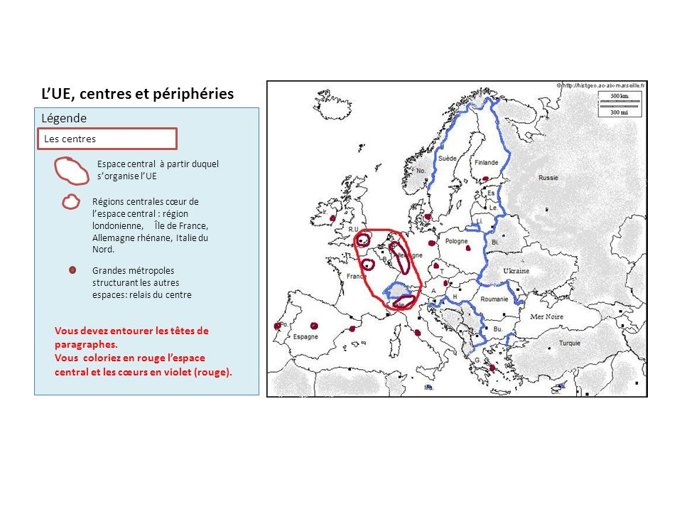 LUnion européenne, centres et périphéries Les espaces organisés par le centre Régions développées intégrées au centre Périphéries anciennes à développement rapide Périphéries nouvelles du centre qui se développent Périphéries en retard
