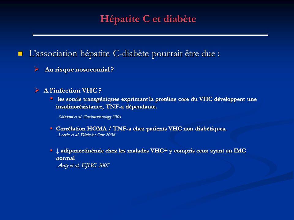 Lassociation hépatite C-diabète pourrait être due : Lassociation hépatite C-diabète pourrait être due : Hépatite C et diabète Au risque nosocomial ? A