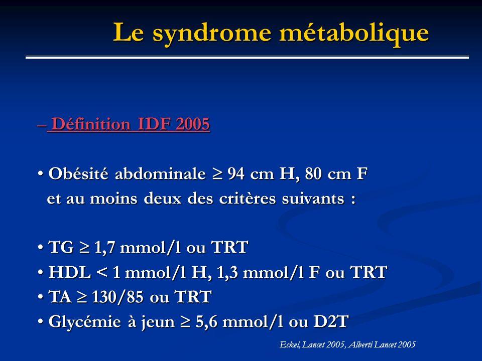 Eckel, Lancet 2005, Alberti Lancet 2005 – Définition IDF 2005 Obésité abdominale 94 cm H, 80 cm F Obésité abdominale 94 cm H, 80 cm F et au moins deux