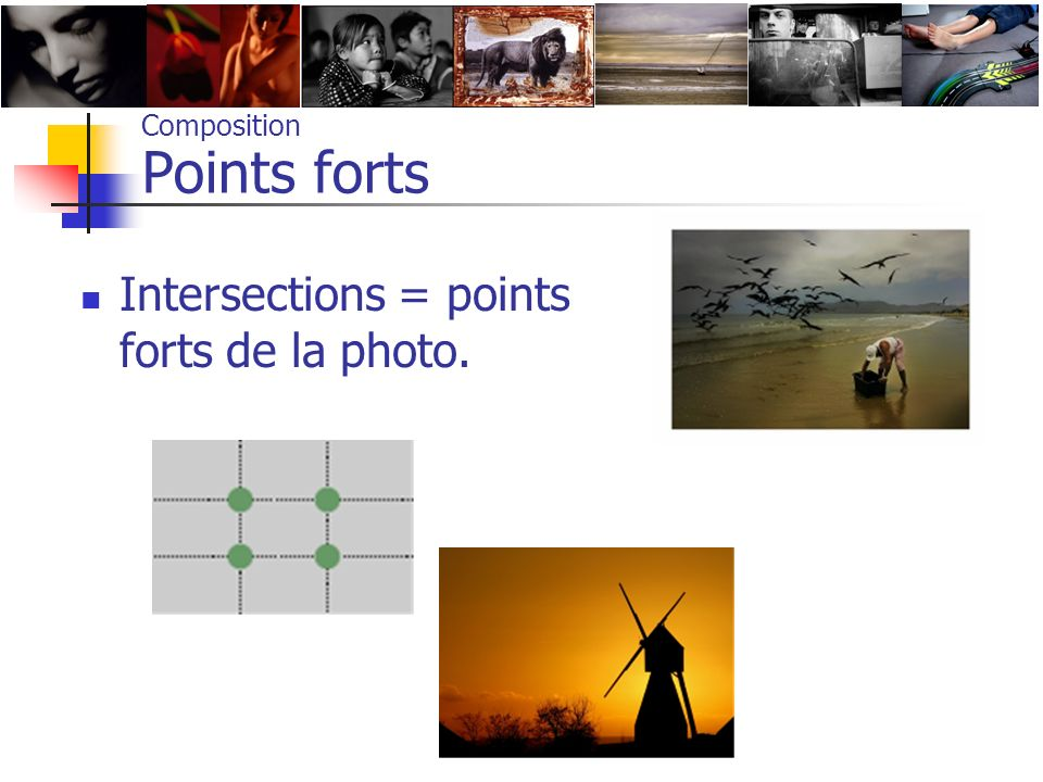 Composition Points forts Intersections = points forts de la photo.