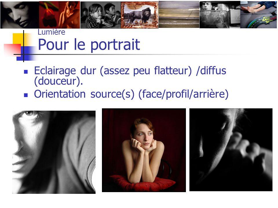 Lumière Pour le portrait Eclairage dur (assez peu flatteur) /diffus (douceur). Orientation source(s) (face/profil/arrière)