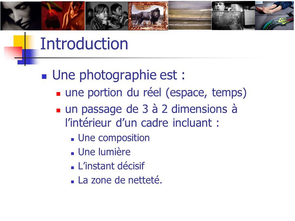 Introduction Une photographie est : une portion du réel (espace, temps) un passage de 3 à 2 dimensions à lintérieur dun cadre incluant : Une compositi