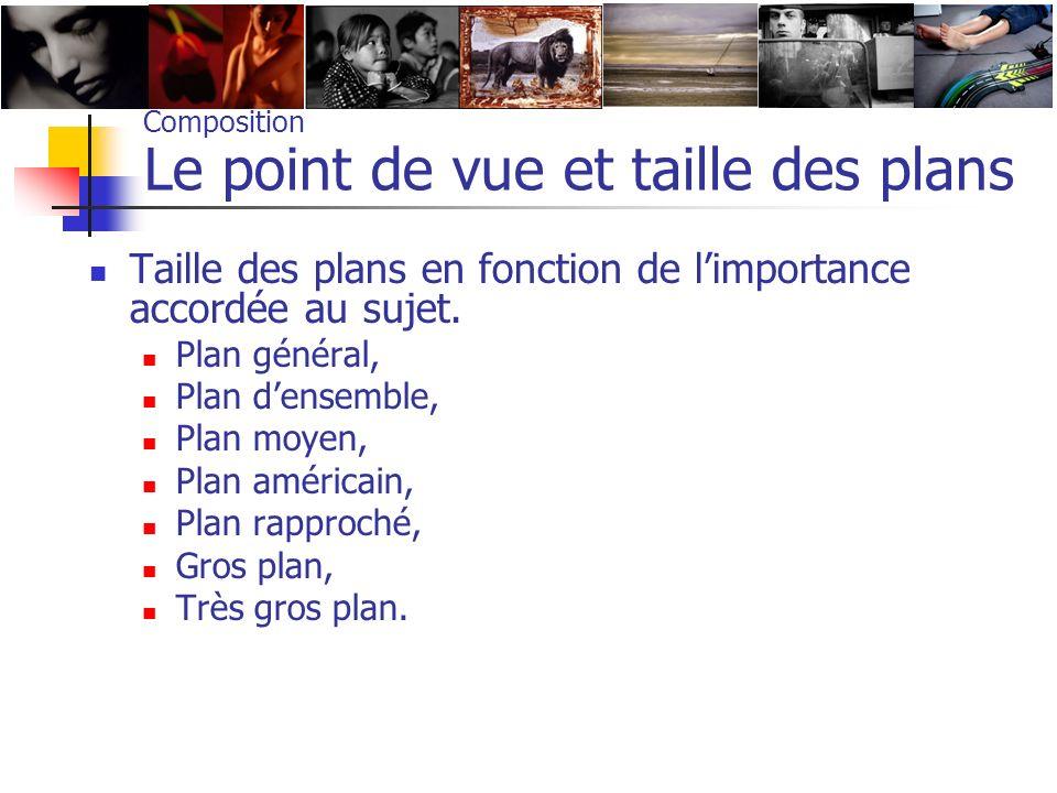 Composition Le point de vue et taille des plans Taille des plans en fonction de limportance accordée au sujet. Plan général, Plan densemble, Plan moye
