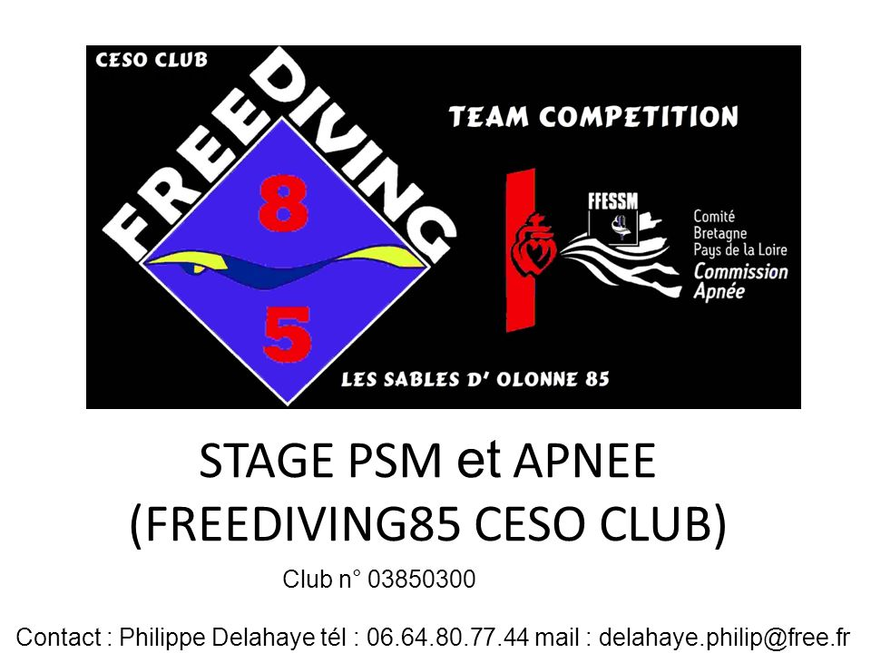 STAGE PSM et APNEE (FREEDIVING85 CESO CLUB) Club n° 03850300 Contact : Philippe Delahaye tél : 06.64.80.77.44 mail : delahaye.philip@free.fr