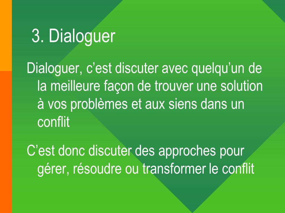 3. Dialoguer Dialoguer, cest discuter avec quelquun de la meilleure façon de trouver une solution à vos problèmes et aux siens dans un conflit Cest do