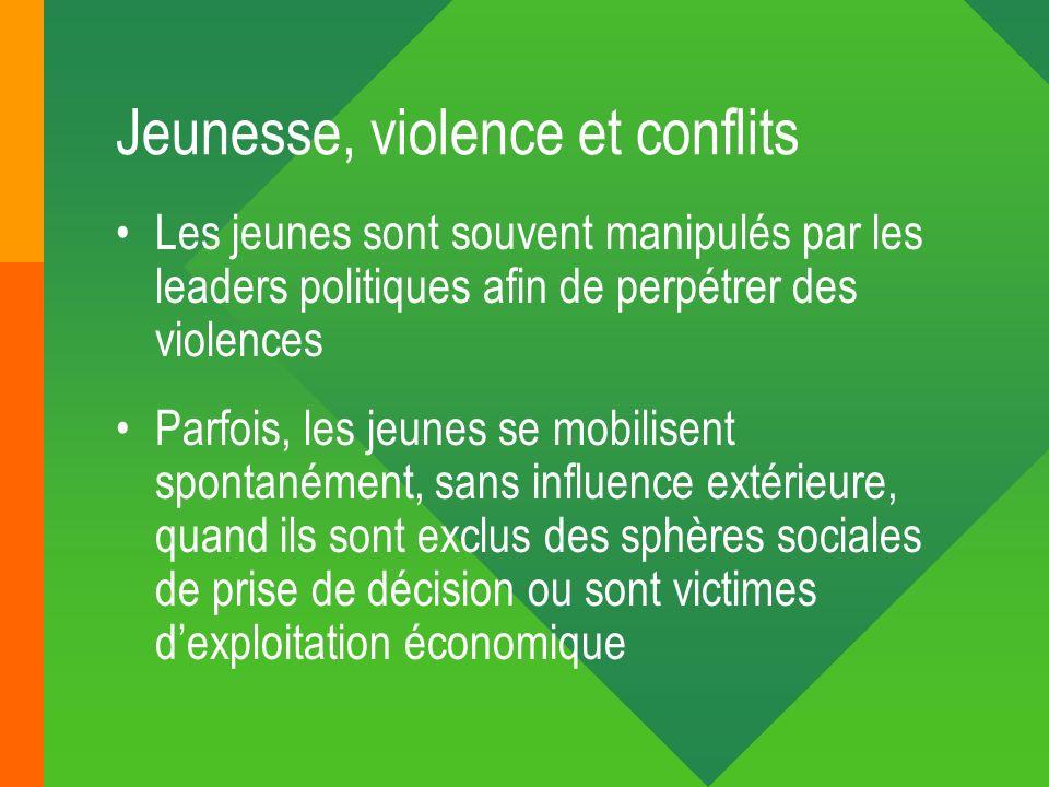 Jeunesse, violence et conflits Les jeunes sont souvent manipulés par les leaders politiques afin de perpétrer des violences Parfois, les jeunes se mob