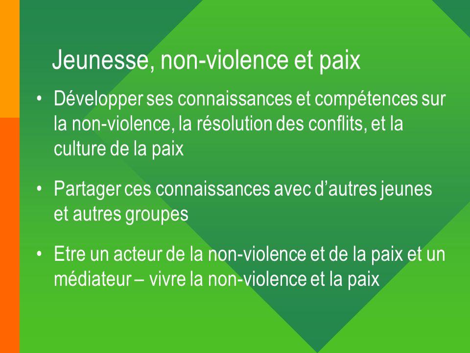 Jeunesse, non-violence et paix Développer ses connaissances et compétences sur la non-violence, la résolution des conflits, et la culture de la paix P