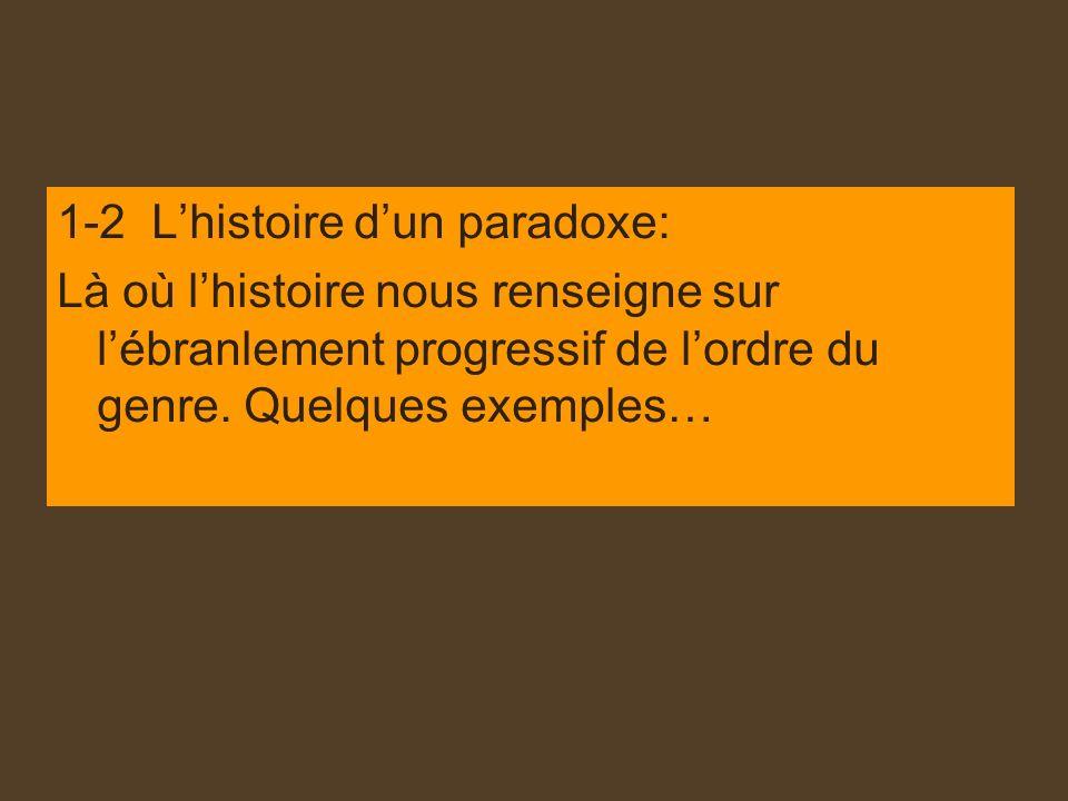 1-2 Lhistoire dun paradoxe: Là où lhistoire nous renseigne sur lébranlement progressif de lordre du genre. Quelques exemples…