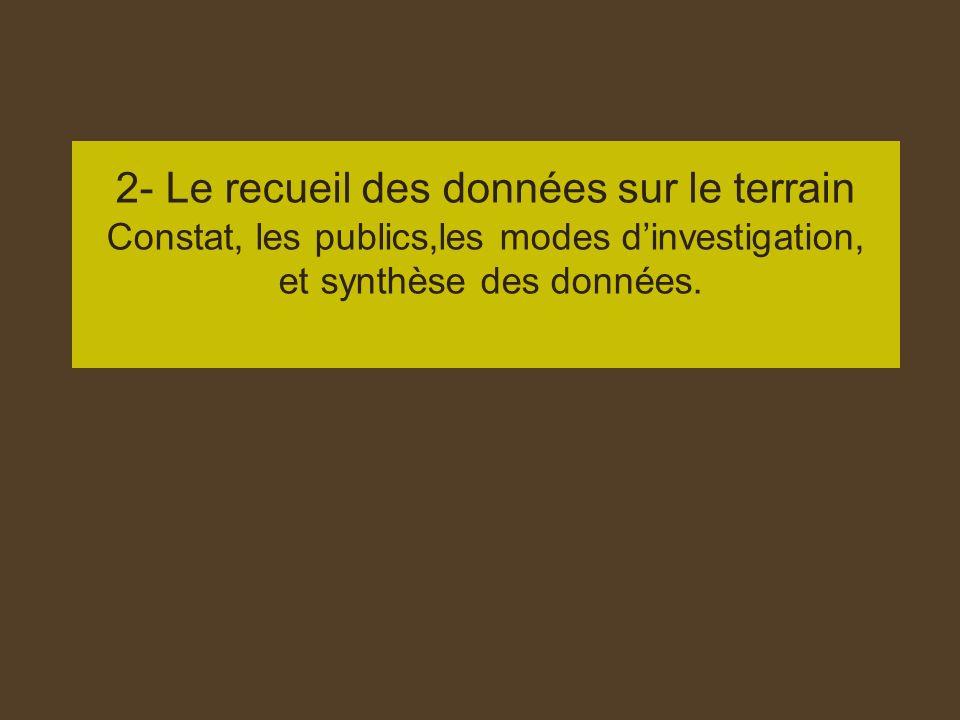 2- Le recueil des données sur le terrain Constat, les publics,les modes dinvestigation, et synthèse des données.