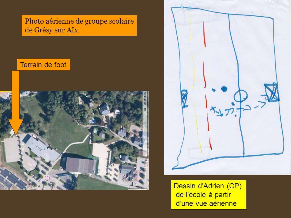 Dessin dAdrien (CP) de lécole à partir dune vue aérienne Terrain de foot Photo aérienne de groupe scolaire de Grésy sur AIx