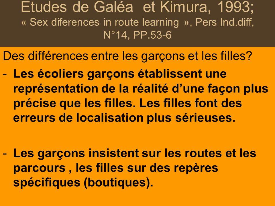 Etudes de Galéa et Kimura, 1993; « Sex diferences in route learning », Pers Ind.diff, N°14, PP.53-6 Des différences entre les garçons et les filles? -