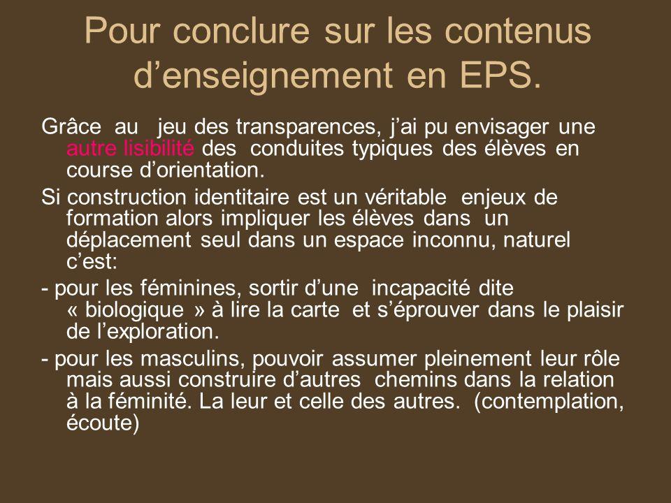 Pour conclure sur les contenus denseignement en EPS. Grâce au jeu des transparences, jai pu envisager une autre lisibilité des conduites typiques des
