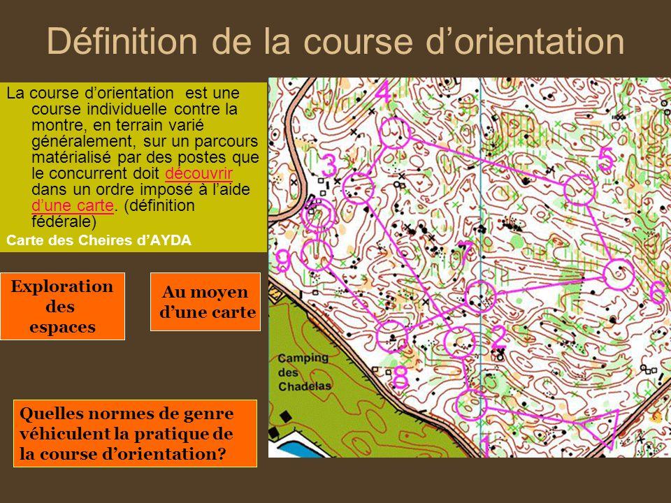 Définition de la course dorientation La course dorientation est une course individuelle contre la montre, en terrain varié généralement, sur un parcou